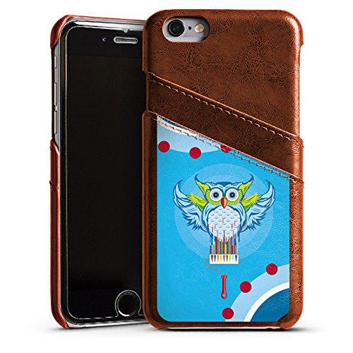 Apple iPhone 5s Housse Étui Protection Coque Hibou Hibou couleurs Étui en cuir marron