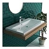 Garda Aufsatzwaschbecken 90 x 48 cm aus hochwertigem Mineralguss mit Überlauf | Handwaschbecken Waschschale Gäste WC Waschtis