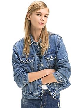 ZKOO Giacca Di Jeans Blu Donne Sezione Corta Denim Giacca Sciolto Manica Lunga Capispalla