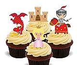 Märchen Ritter, Prinzessinnen und Drachen, Kids 'essbaren Kuchen Dekorationen–Stand-Up Wafer Cupcake Topper, 12er-Pack