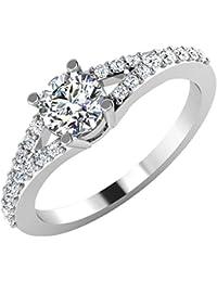IskiUski White Gold And American Diamond Ring For Women - B075VHCT74