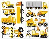 plot4u 17-teiliges Baustellen Fahrzeuge Wandtattoo Set Kinderzimmer Babyzimmer in 5 Größen (2x27x43cm Mehrfarbig)
