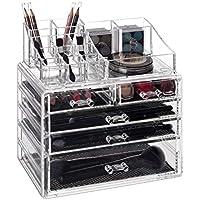 Relaxdays Organizador para Maquillaje, Cinco cajones, Caja de almacenaje para Brochas & Pintalabios, Transparente