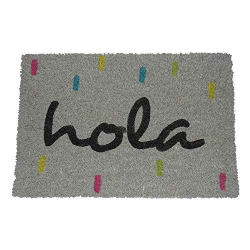 koko doormats - Felpudos Originales y Divertidos para la Entrada de casa - Hola Colores - PVC, Coco, 40 x 60 cm
