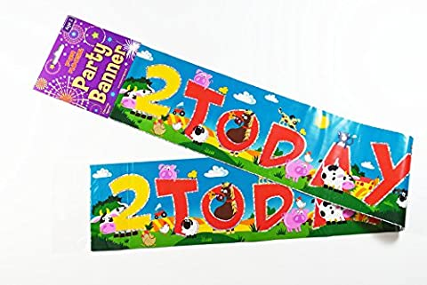 2 Today Birthday Animal Banner Party Unisex Boy Girl Decoration