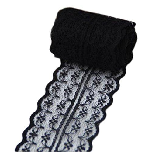 chytaii-Schleifenband Spitze Floral Vintage Zubehör de Couture Kleidung Dekoration von Stickerei Kleid Hochzeit DIY Retro 4,5cm, Schwarz , 10m*4.5cm Couture-kleid Schwarz