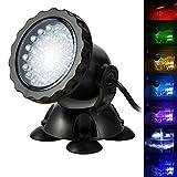 BLOOMWIN Proyector de Acuario 3.5W 12V 36 LEDs IP68 Luz Sumergible Foco Iluminación de Piscina...