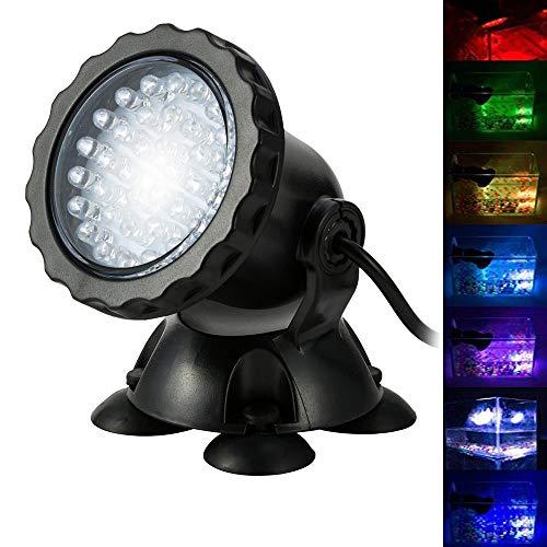 BLOOMWIN Proyector de Acuario 3.5W 12V 36 LEDs IP68 Luz Sumergible Foco Iluminación de Piscina Cambio...