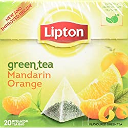 Lipton Grüner Tee Mandarine Orange 20 Pyramidenbeutel 3er Pack (3 x 36g)