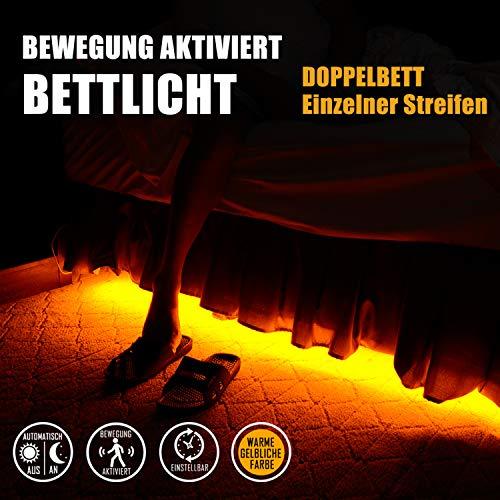 Bettlicht mit Bewegungsmelder, Emotionlite Bewegungsaktivierte LED-Streifen Dekorative Lichtleiste, Bewegungsmelder zeitverstellbar, Warme gelbliche Farbe, Doppelbett