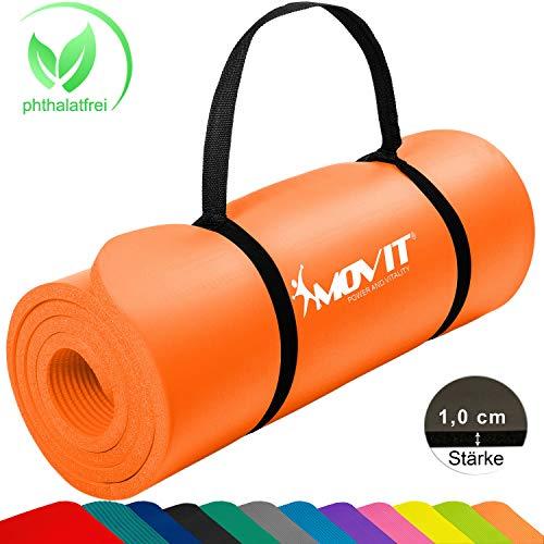 Movit Tapis de Gymnastique Mat de Yoga sans phtalate Fitness Pilates/Sport/Gym SGS/Sol testé, en 2 Tailles 190cmx100cm ou 190x60cm ou 183cmx60cm épaisseur: 1,5cm ou 1,0cm en 12 Couleurs Rembou