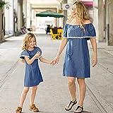 MCYs Mutter und Tochter Schulterfrei Rüschen Spitze Splice Denim Kleid Familie Matching Kleidung Strand Sommer Einfarbig Minikleid (XL, mama)