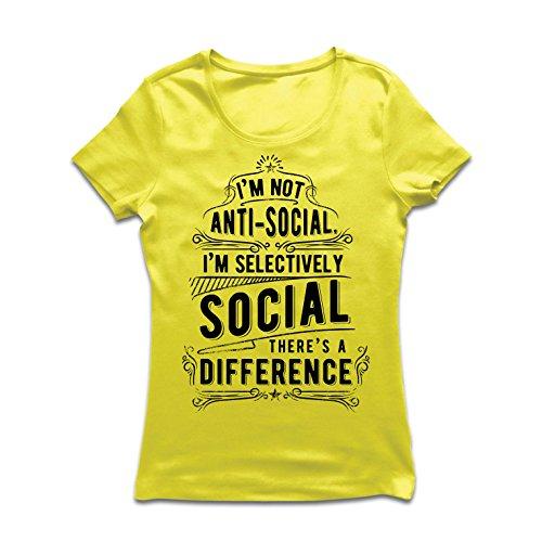 Camiseta Mujer No Soy Antisocial Solo selectivamente Social, Gracioso Diciendo, Citas de Humor sarcástico (XX-Large Amarillo