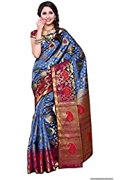Mimosa Women's Art Silk Zari Work Saree With Blouse Piece - 192-2D-GREY_Blue And Golden_Free Size