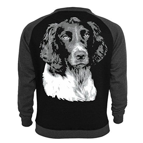 Männer und Herren Pullover Deutscher Wachtelhund (mit Rückendruck) Schwarz/Dunkelgrau