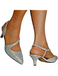 ROCK ON Styles NUEVO de Mujer Oro Plata Fiesta Novia Boda pedrería tiras en Tobillo Medio Bajo Gatito Tacón Zapatos de salón sandalias- 007