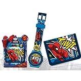 Marvel Spiderman - Set regalo orologio da polso digitale + Portafoglio in poliestere