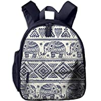Ethnic Elephant Pattern Double Zipper Closure Waterproof Children Schoolbag Backpacks with Front Pockets for Kids Boys Girls