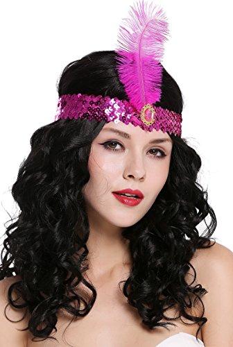 DRESS ME UP - VQ-006-purple Haarband Haarreif Stirnband Stirnreif Pailletten lila Charleston 20er Cabaret Feder