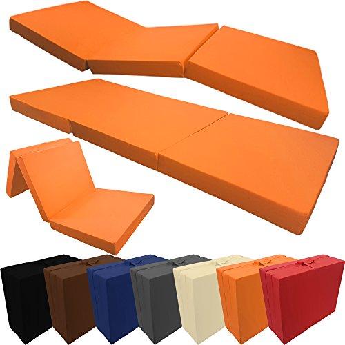 proheim Klappmatratze mit Microfaserbezug viele Größen und Farben wählbar zusammenklappbares Gästebett Faltmatratze faltbares Notbett, Farbe:Orange, Größe:190 x 60 x 7 cm