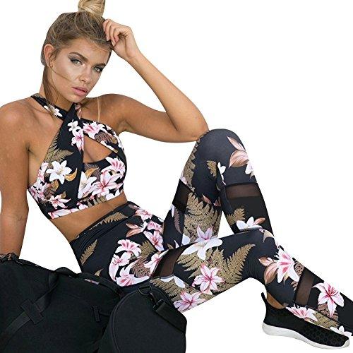 Donna Casual Slim Sportivo Yoga Tute Sportive Pantaloni + Canotte Palestra Nero