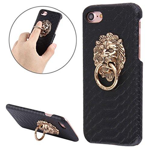 Casse del telefono mobile & Cover, Per il caso di protezione del PC iPhone 7 Snakeskin Texture incolla pelle con il supporto della testa di leone ( Colore : Nero )