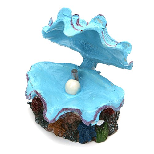 UEETEK Decorazione di conchiglie e pigne artificiali per acquario di acquario (blu)