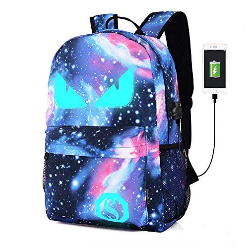Schultaschen, Anime Luminous Rucksack USB Ladeanschluss Laptoptasche Handtasche Leinwand Schulter Daypack für Cool Girls Boys Teens Outdoor Rucksack (Blau-böses Auge) -