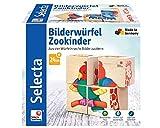 Selecta 62050 Bilderwürfel Zookinder, Würfelpuzzle aus Holz, 4 Teile