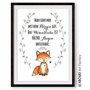 """ABOUKI hochwertiger Kunstdruck – ungerahmt -""""Man sieht nur mit dem Herzen gut."""" Zitat Fuchs aus""""Der kleine Prinz"""", optional personalisierbar mit Wunschnamen"""