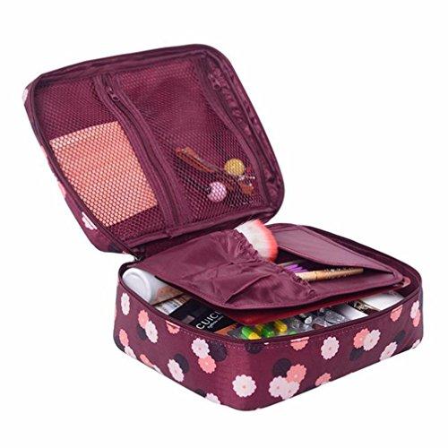 Cosmétique Sac de maquillage, organiseur Boîte de rangement, organiseur, Honestyi Voyage Maquillage Housse de transport étui de rangement organiseur Lavage de toilette Sac à main, tissu en nylon étanche 220 x 180 x 9 mm Red