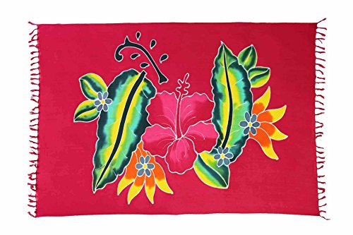 Ca 30 Modelle Sarong Pareo Wickelrock Standtücher Schals Handtuch aus der Serie Crazy Islands Riesen Auswahl Barbados - Rot Blumen