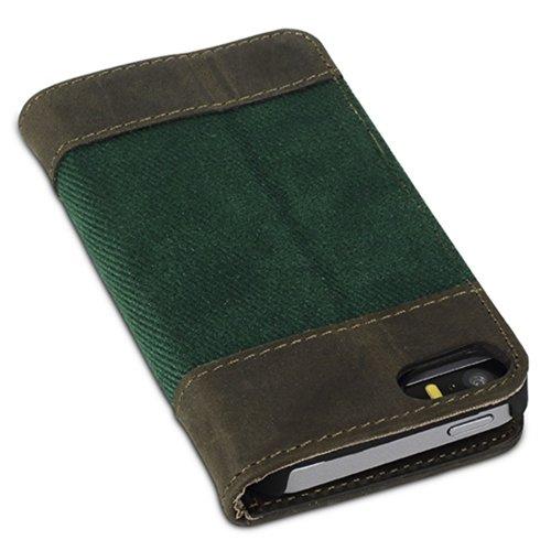 """Bouletta Apple iPhone SE 5S 5 Book Case Hülle Tasche Ledertasche Handyhülle Handytasche Etui Vintage Antik - Mit Standfunktion und Kartfächern, Handarbeit - """"BookCase"""" Canvas Grün Canvas Grün"""