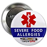 #8: SEVERE FOOD ALLERGIES EpiPen Allergy Medical Alert 2.25 inch Pinback Button Badge