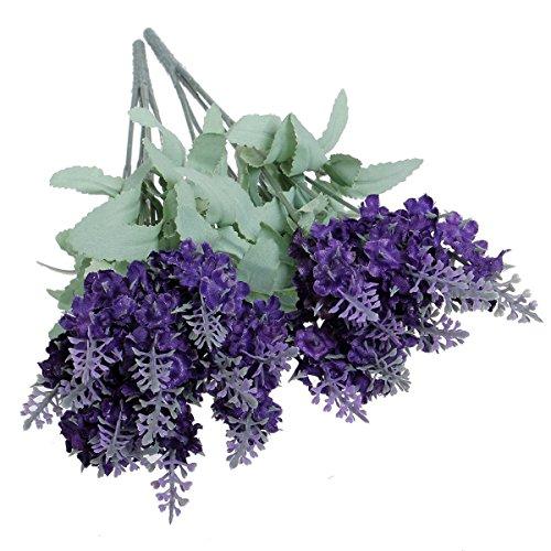 KINGSO Kuenstliche Blumen Kunstblumen Lavendel Seidig?Blumenstrauss Seidenblumen Dekorative Blumen Tieflila