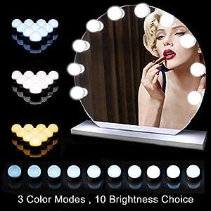 Schminktisch Beleuchtung, Hollywood Spiegel, 10 LEDs Licht Mit 3 Licht Modus und 10 Dimmbare Helligkeiten für…