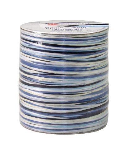 Preisvergleich Produktbild Unbekannt Geschenkband Raffia Multi 50 m blau/weiss VE=1