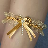 Liguero liga novia boda puntilla gold dorado