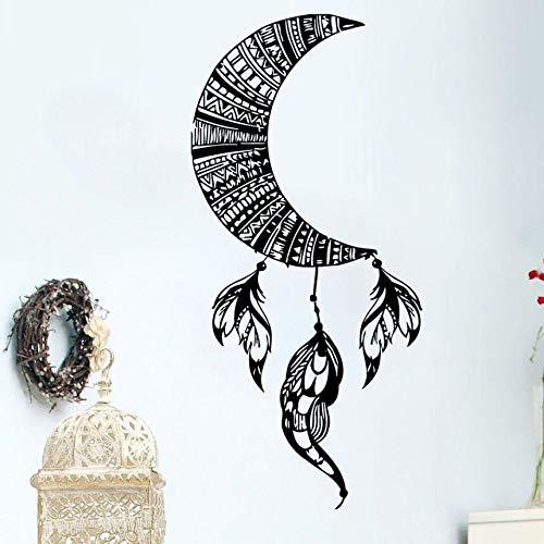 JXMK Luna Pared calcomanía decoración Desmontable Pluma atrapasueños Vinilo Pegatina decoración del hogar Yoga Ropa de Cama Bohemia 42x90cm