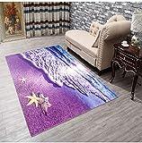DAMENGXIANG 3D-Druck Lila Strand Weichen Teppich Wohnzimmer Couchtisch Schlafzimmer Mat Rutschfeste Fußmatte Home Decor Foot Pad 120×180 cm