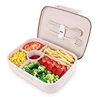 BRIGENIUS Bento Box for Adults Kids, Natural Wheat Straw Made Lunch Boxes, BPA Free Lunch Containers, Leak Proof 5 Compartment Eco-Friendly Lunch Box, Microwave Dishwasher Safe (with Fork & Spoon)