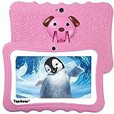 TOPSHOWS Tablet per Bambini da 7 Pollici,Quad Core 1GB+16GB Tablet Educativo, con Custodia in Silicone Stander,iWawa Software preomstallato,ROSA