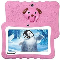 Idea Regalo - TOPSHOWS Tablet per Bambini da 7 Pollici,Quad Core 1GB+16GB Tablet Educativo, con Custodia in Silicone Stander,iWawa Software preomstallato,ROSA