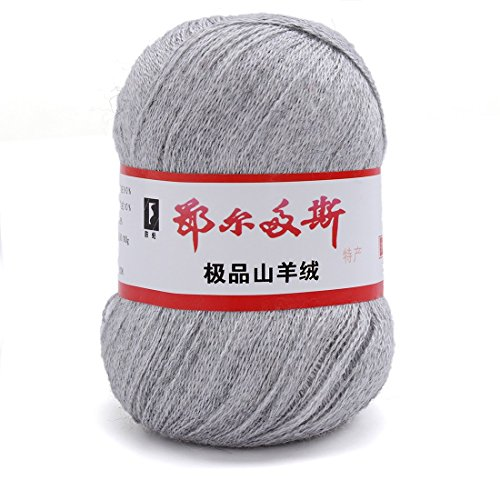 Generisches 1 x Luxurioes Cashmere Reiner Mongolischer Kaschmir Strickgarn Wolle 50g Hellgrau (Mongolischen Kaschmir-garn)