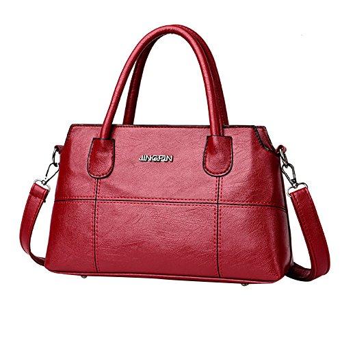 TianWlio Frauen Handtasche Mode Leder Splice Handtasche Schultertasche Umhängetasche Tragetasche rot