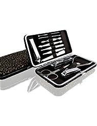 AMOZ | Premium Maniküre Set 12 teilig, Reise Maniküre - Pediküre- Nagelpflege Set / Etui | Alle Teile des Nagelsets bestehen aus rostfreiem Edelstahl