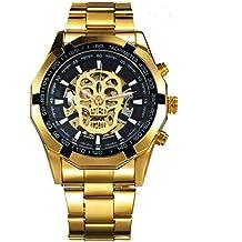 Reloj de pulsera de acero inoxidable, de CALUXE, lujoso, dorado, con diseño
