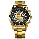 CALUXE, orologio dorato da polso da uomo con teschio, movimento meccanico, in acciaio inossidabile