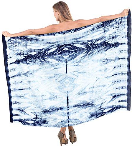 La Leela schwimmen Hand aus 100% Baumwolle verschleiern blauen Rock tie dye Sarong 78x42 Zoll (Weiße Baumwoll-kleid Für Tie Dye)