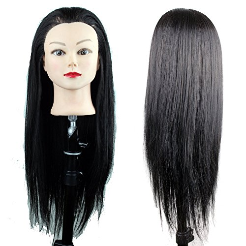 Eseewigs Practice Heads for Hairstylist Cheap Training Head with Black Synthetic Hair for Hair Cutting Practice only